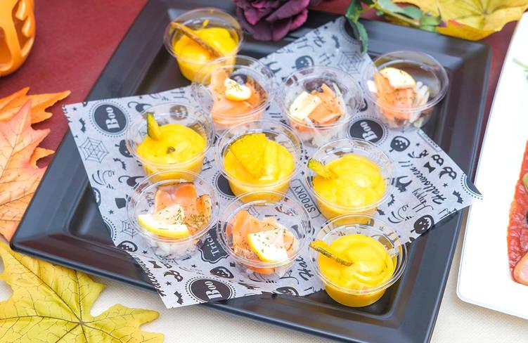 ハロウィン限定☆特製かぼちゃプリン/白ワインビネガーとレモンが香るノルウェーサーモンのマリネ